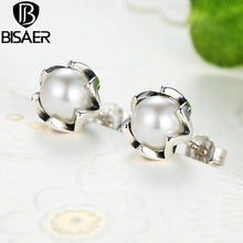 Laden Sie das Bild in den Galerie-Viewer, Echtes 925 Sterling Silver Earrings Cultured Imitation Pearl Stud Earrings for Women Authentic Pearl Jewelry Valentine Day Gift