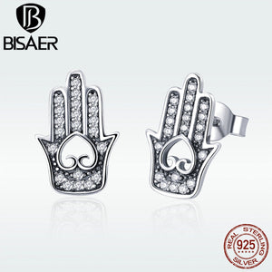 Echtes 925 Sterling Silver Gothic Ethnic Fatima Hand Stud Earrings for Women Silver 925 Jewelry Brincos GXE416