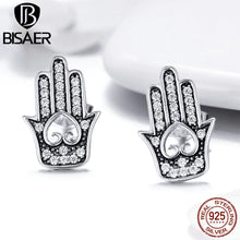 Laden Sie das Bild in den Galerie-Viewer, Echtes 925 Sterling Silver Gothic Ethnic Fatima Hand Stud Earrings for Women Silver 925 Jewelry Brincos GXE416