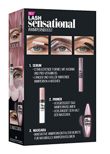 Maybelline New York Lash Sensational Routine-Set, mit Wimpernserum, Primer und Mascara