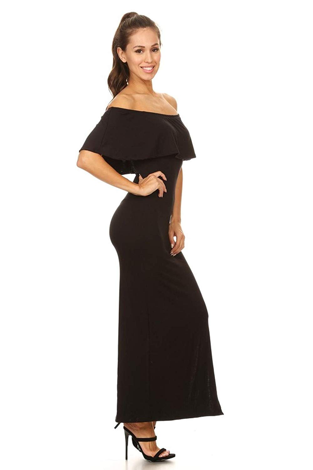 Vibe Sportswear Off Shoulder Ruffle Maxi Dress, Comfortable Stretch Fabric, Lightweight, Classy-Casual, Mid Calf Side Slit