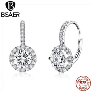 Echtes 925 Sterling Silver Round Clear CZ Sparkling Drop Dangle Earrings for Women Wedding Jewelry Statement Earings GXE508
