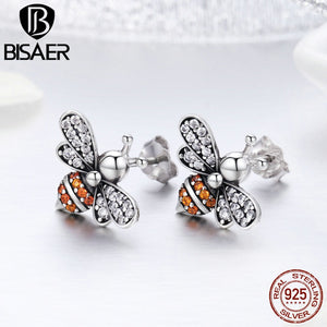 Echtes 925 Sterling Silver AAA CZ Busy Bees Insects  Stud Earrings for Women Luxury Fine Silver Jewelry Brincos GXE344