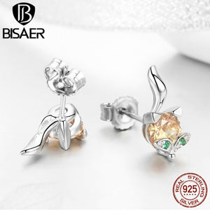 Echtesl 925 Sterling Silver Colorful Little Fox Cute Crystal CZ Stud Earrings Jewelry Making Gifts Valentine GXE527