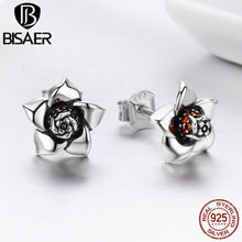 Laden Sie das Bild in den Galerie-Viewer, Echtes 925 Sterling Silver Blossoming Gardenia Flower Exquisite Stud Earrings for Women Brincos Fine Jewelry Bijoux GXE300