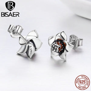 Echtes 925 Sterling Silver Blossoming Gardenia Flower Exquisite Stud Earrings for Women Brincos Fine Jewelry Bijoux GXE300