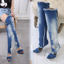 Laden Sie das Bild in den Galerie-Viewer, Sommer Frauen High Heels Stiefel Jeans Long Boots