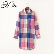Laden Sie das Bild in den Galerie-Viewer, Plaid Shirt Tops Leinen Bluse