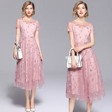 Laden Sie das Bild in den Galerie-Viewer, Elegantes Sommer Kurzarm Kleid in Rosa Vintage