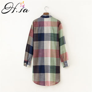 Plaid Shirt Tops Leinen Bluse