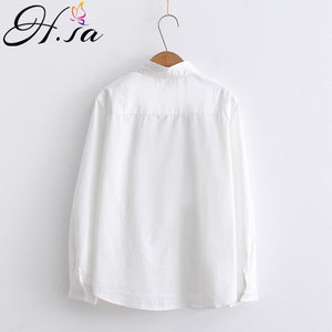 Cotton Bluse Langarm Fashion Shirt Tops F