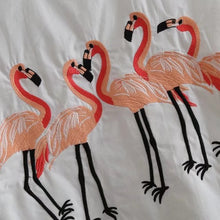 Laden Sie das Bild in den Galerie-Viewer, Weiß Lange Bluse Langarm Casual Flamingo Stickerei