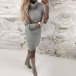 Party Kleid Elegant Solide Langarm Damen Kleider Winter Vintage