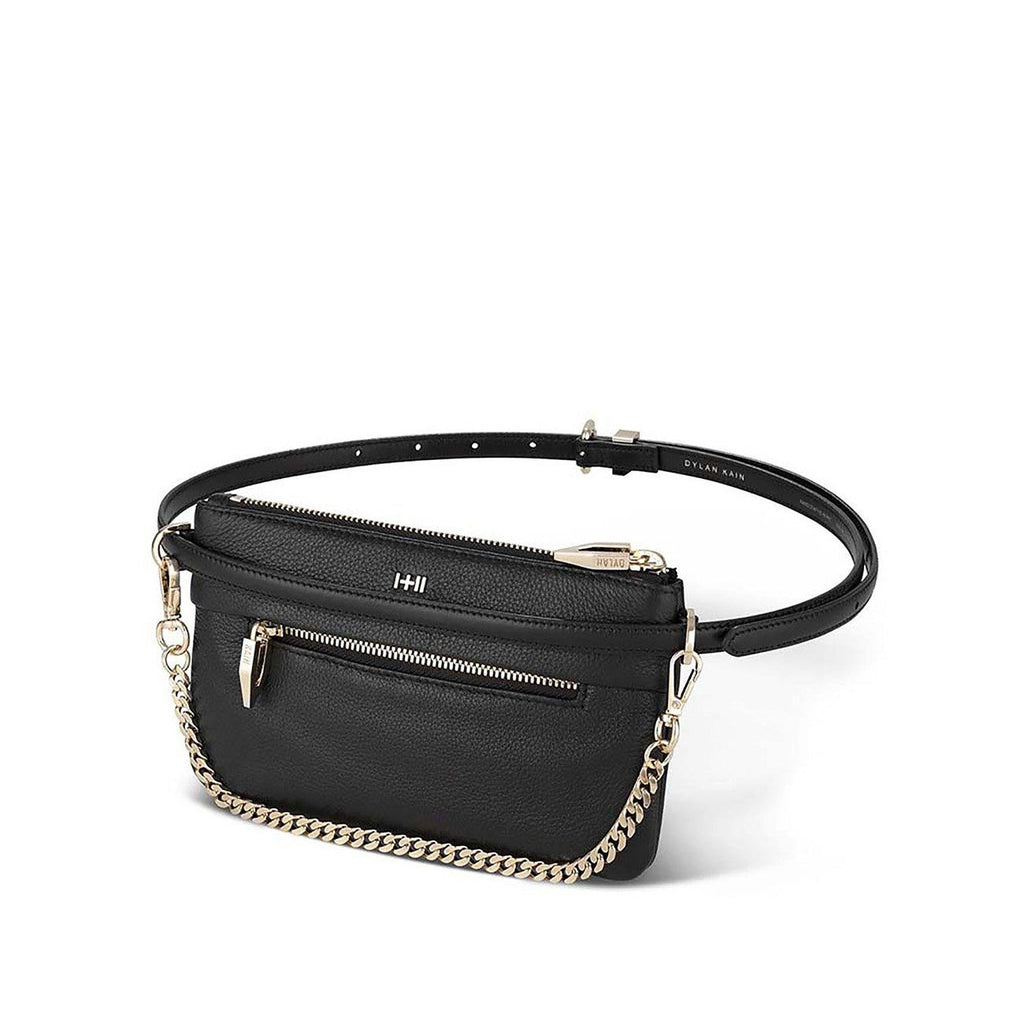 Dylan Kain The Binx Belt Bag Set Black Leather with Light Gold Hardware