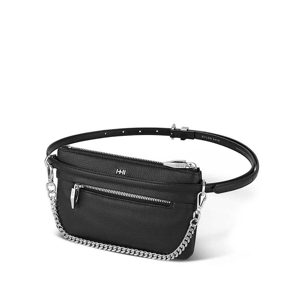 Dylan Kain The Binx Belt Bag Set Black Leather with Silver Hardware