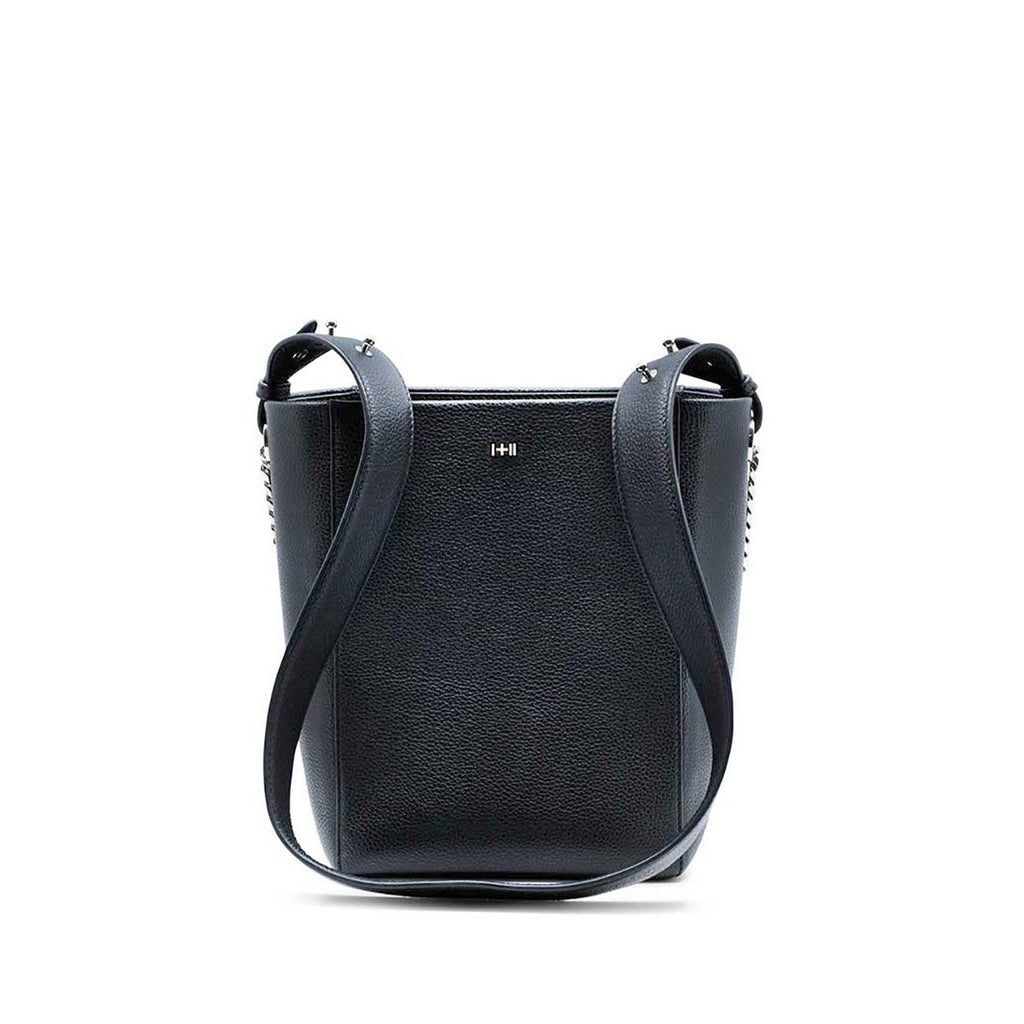 Dylan Kain The Kobe Black Leather Tote with Silver Chain