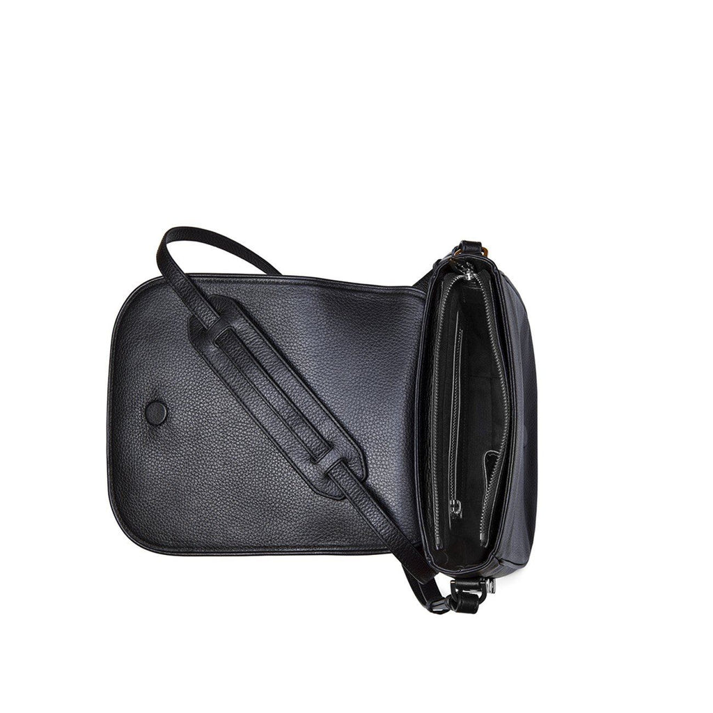 Dylan Kain Lovette Black Leather Bag with Silver Hardware