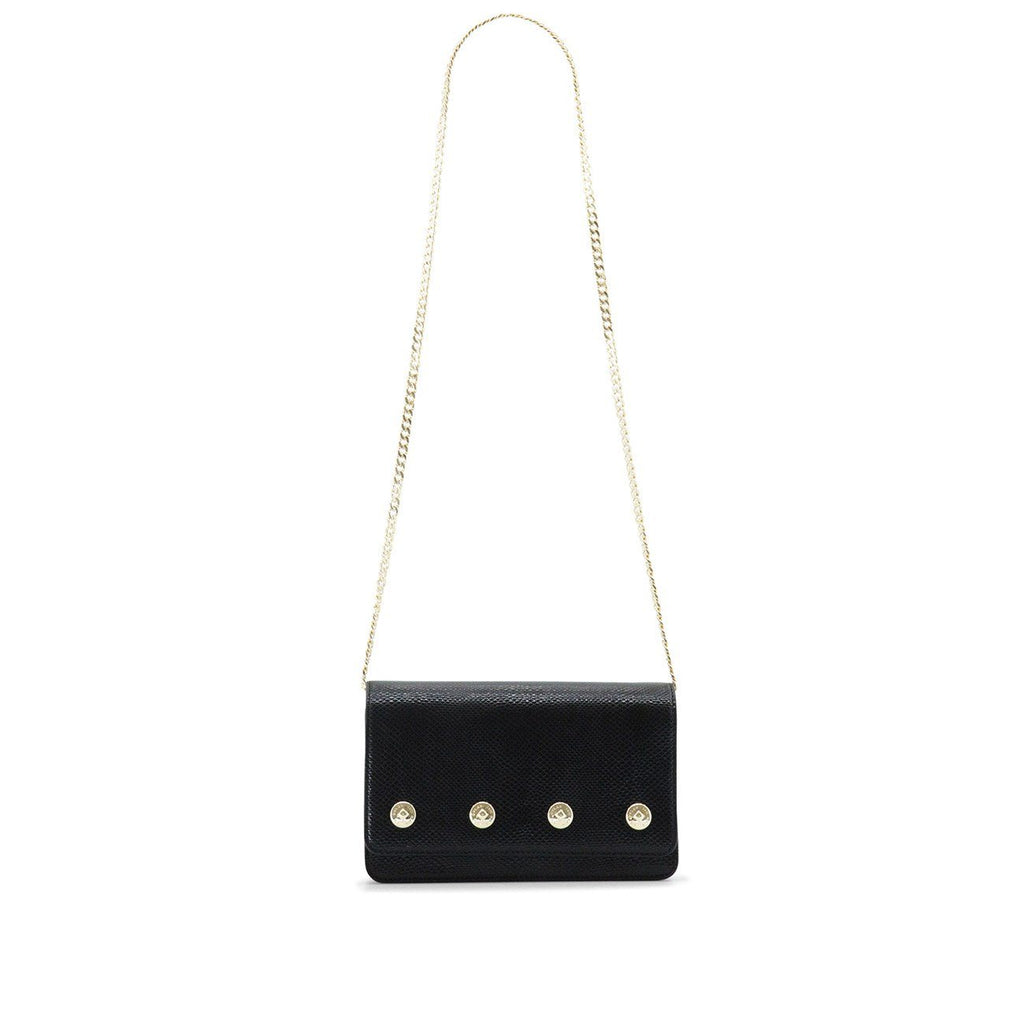 Dylan Kain The Sienna Black Leather Bag with Light Gold Chain and Hardware