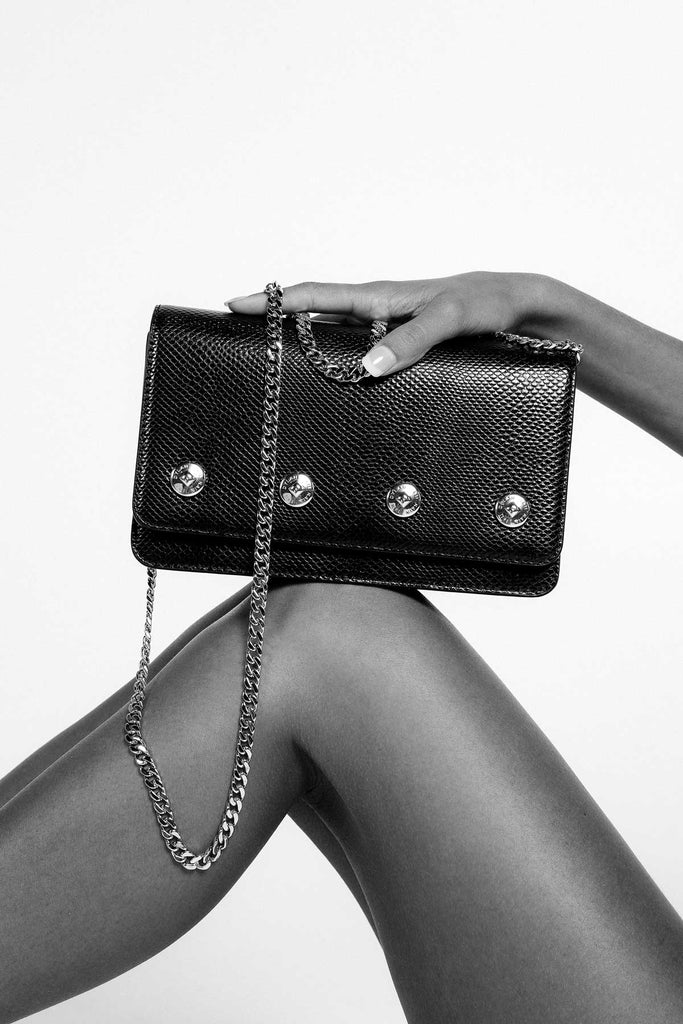 Dylan Kain The Sienna Black Leather Bag with Silver Chain and Hardware