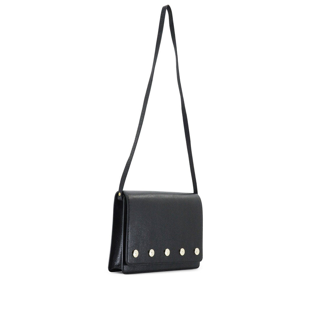 Dylan Kain The Sienna Black Leather Day Bag with Light Gold Chain and Hardware