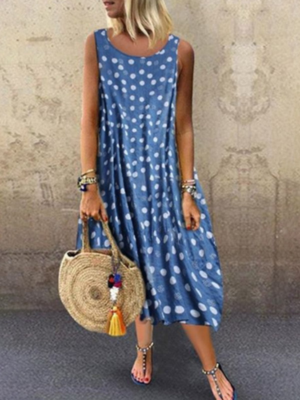 Robe sans manches à pois-Dress-fairyume-Bleu-S-fairyume