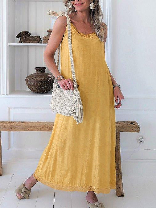 Robe sans manches en mélange de coton-Dress-fairyume-Jaune-S-fairyume