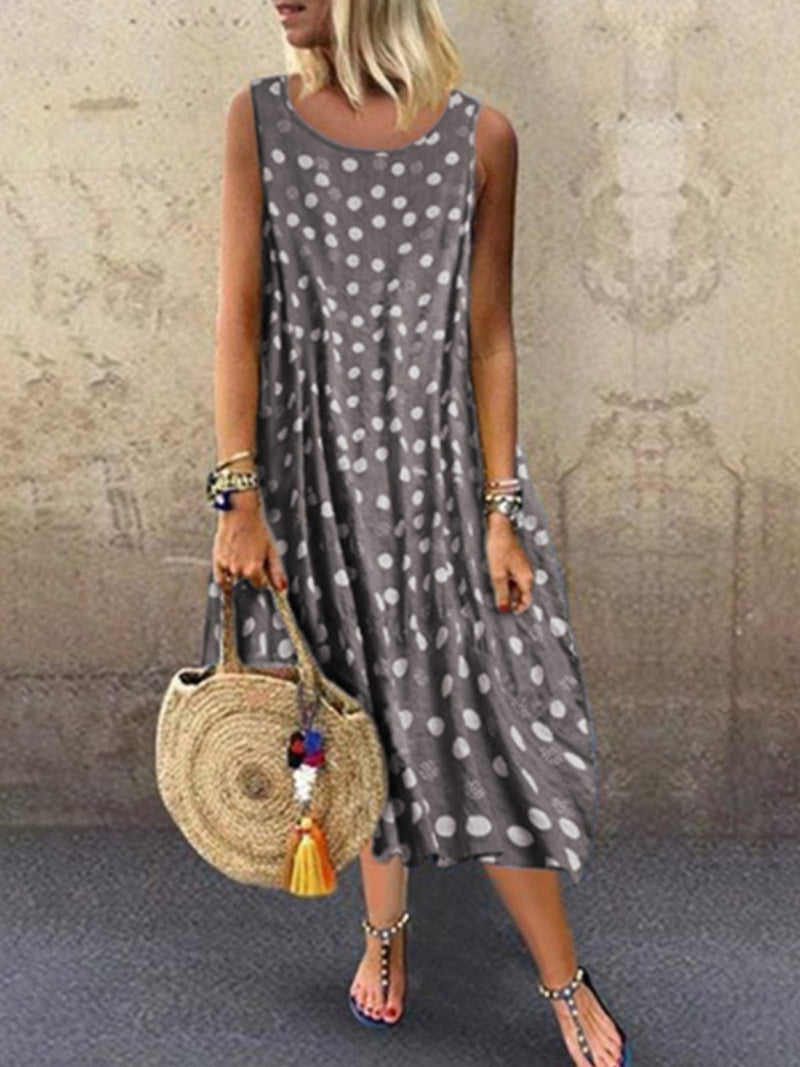 Robe sans manches à pois-Dress-fairyume-Gris-S-fairyume