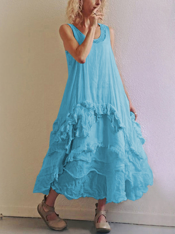Robe sans manches col rond-Dress-fairyume-Bleu-S-fairyume
