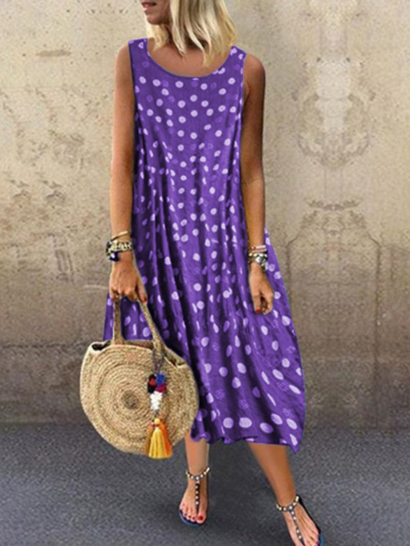 Robe sans manches à pois-Dress-fairyume-Violet-S-fairyume