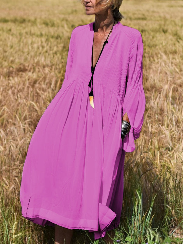 Robe col V manches longues-Dress-fairyume-Rose-S-fairyume