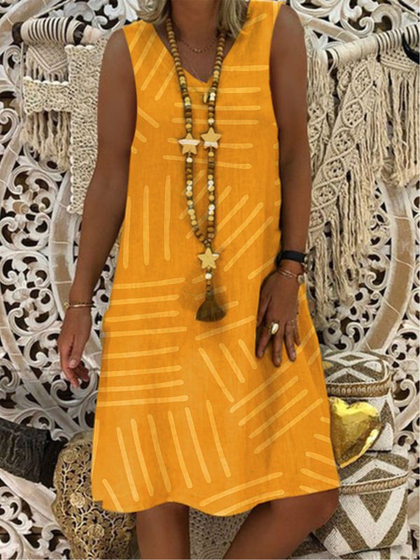 Robe trapèze à encolure ras du cou Boho-Dress-fairyume-Jaune-S-fairyume