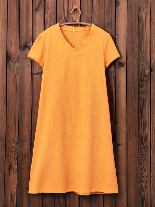 Robe à manches courtes en coton mélangé uni à col en V-Dress-fairyume-Orange-S-fairyume
