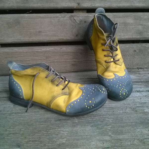 Mocassins Durables à Lacets et à Talon Bas-Shoes-fairyume-Jaune-35-fairyume