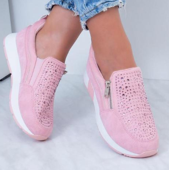 Pu Athletic Platform Chaussures en strass-Shoes-fairyume-fairyume