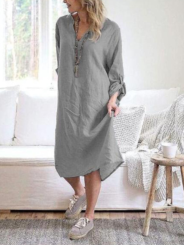 Robe en lin à manches longues-Dress-fairyume-Gris-S-fairyume