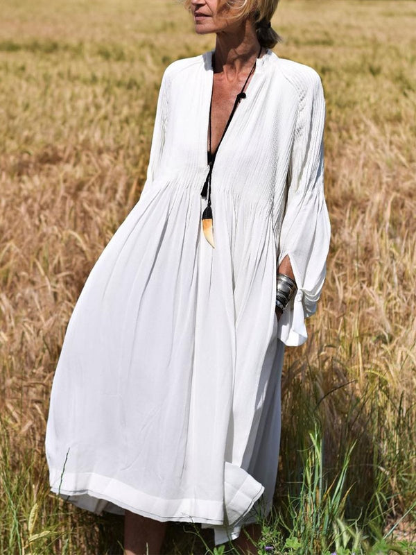 Robe col V manches longues-Dress-fairyume-Blanc-S-fairyume