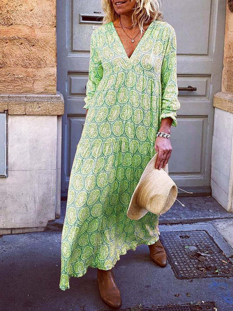 Robe à manches longues à col en V abstraite-Dress-fairyume-Vert-S-fairyume