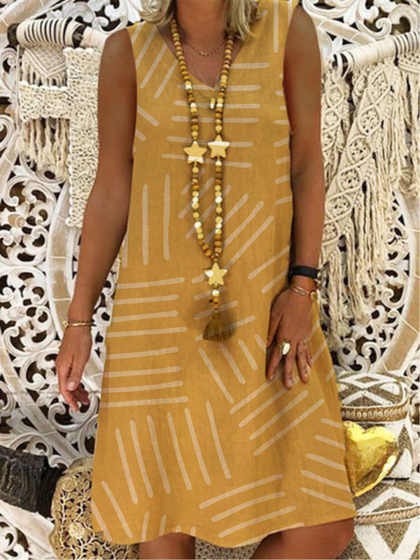 Robe trapèze à encolure ras du cou Boho-Dress-fairyume-Kaki-S-fairyume