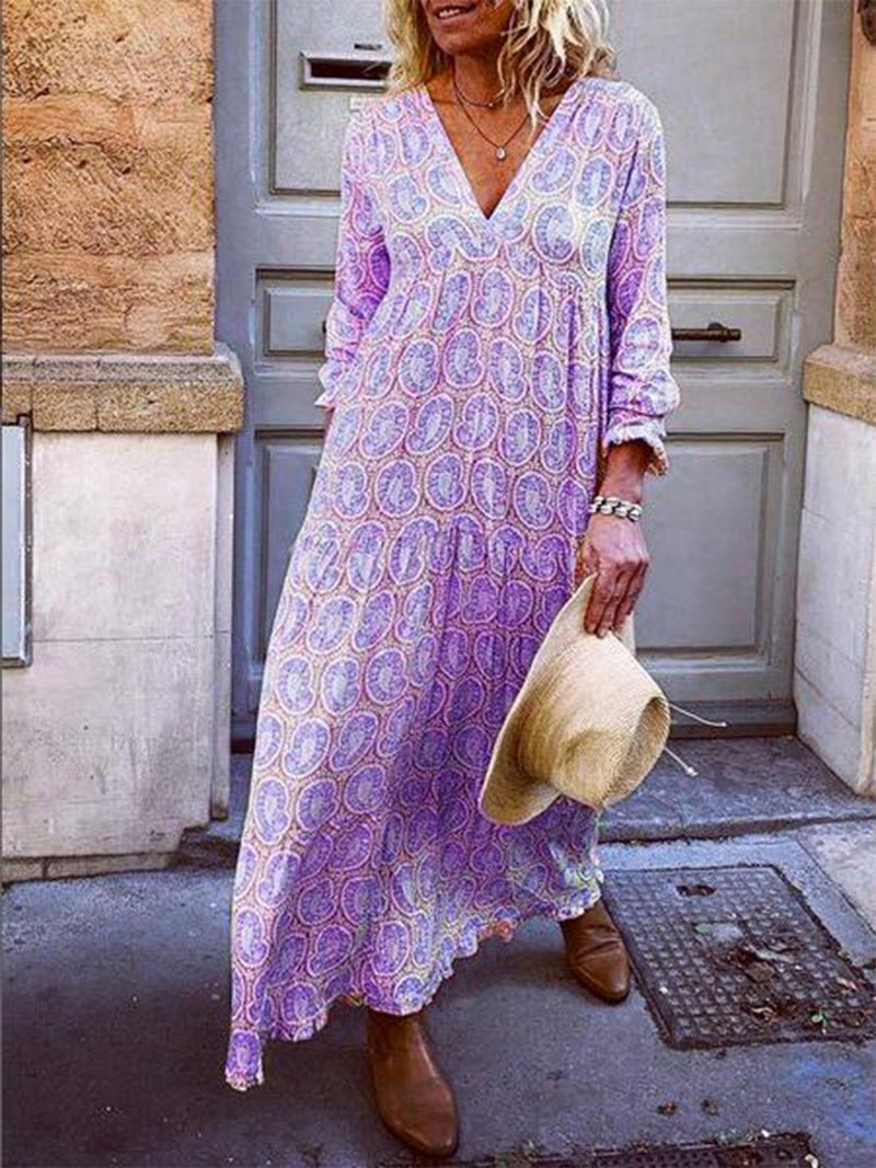 Robe à manches longues à col en V abstraite-Dress-fairyume-Violet-S-fairyume