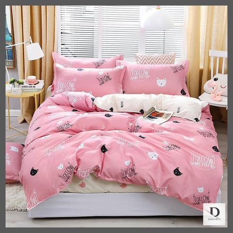 Blush Pink Bedding | Pink Duvet Cover for Cats Lover