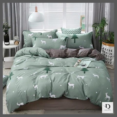 Deer Pattern Sage Green Sheets | Green Comforter Sets