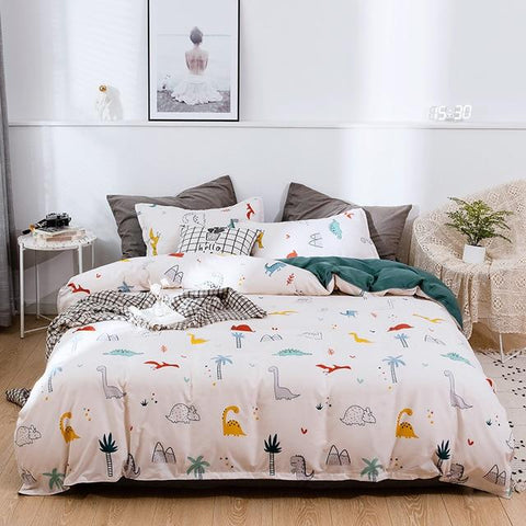Dinosaurs Style Green White Kids Bedding / Comforter Set