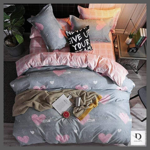 Heart Shape Pink and Grey Sheets Double Sided