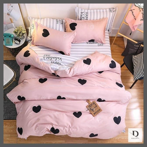 Pink Comforter Set with Grey Stripes and Hearts