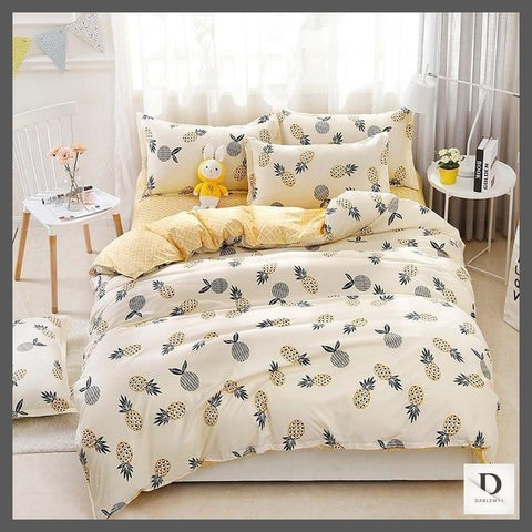 Double sided pineapple print bedding sets