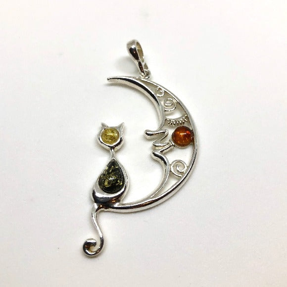 Multicolour Amber and Silver Cat Pendant