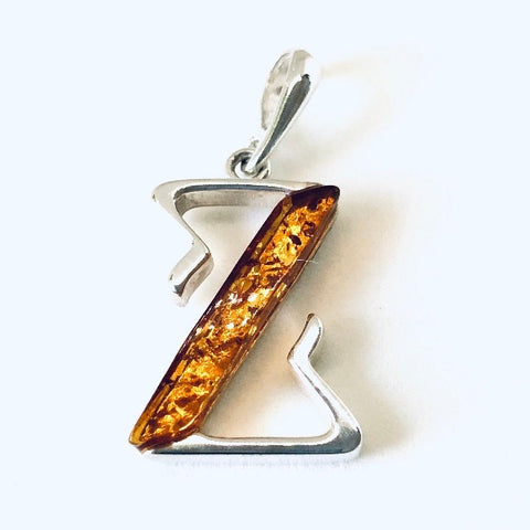 "Amber and Silver Pendant - Initial ""Z"""