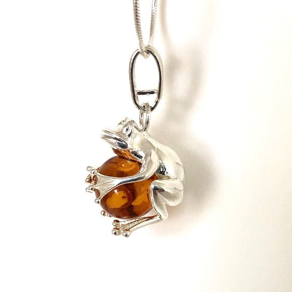 Baltic Amber and Silver Frog Pendant