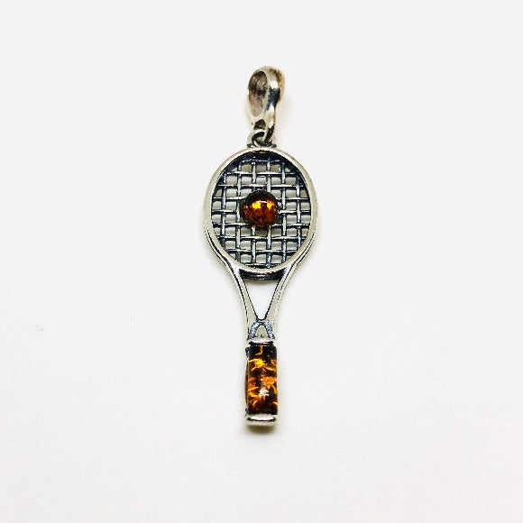 Silver and Amber Tennis Racket Pendant