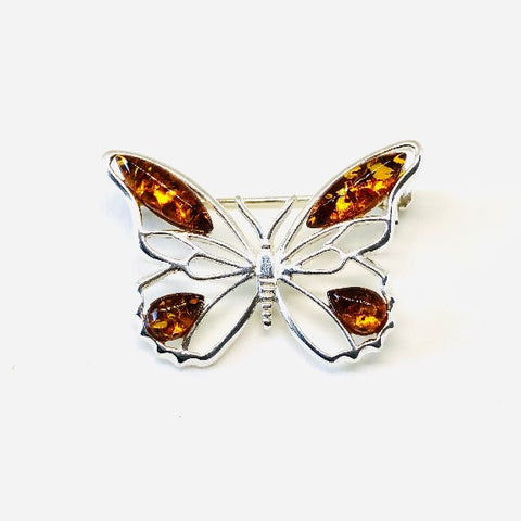 Baltic Amber and Silver Butterfly Brooch